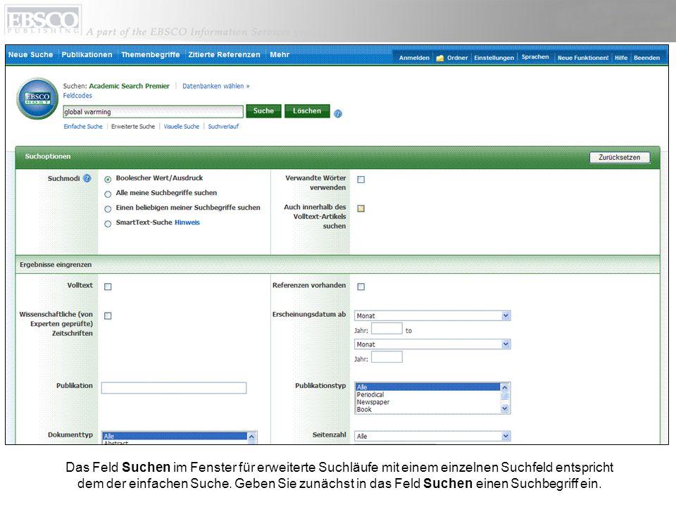 Die Ansicht Erweiterte Suche bietet Suchmodi, Erweiterungen und Eingrenzungen zur Anpassung der Ergebnisse im Bereich Suchoptionen.