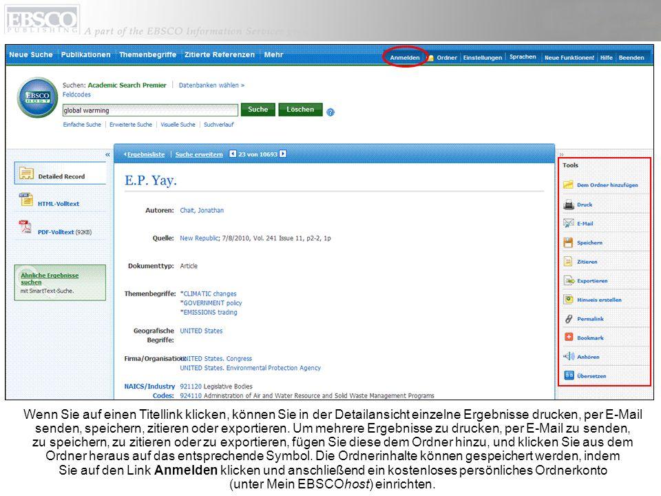 Wenn Sie auf einen Titellink klicken, können Sie in der Detailansicht einzelne Ergebnisse drucken, per E-Mail senden, speichern, zitieren oder exportieren.