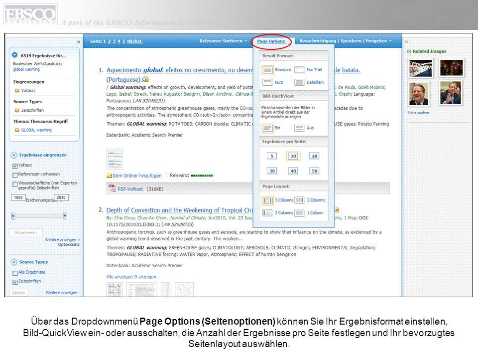 Über das Dropdownmenü Page Options (Seitenoptionen) können Sie Ihr Ergebnisformat einstellen, Bild-QuickView ein- oder ausschalten, die Anzahl der Erg