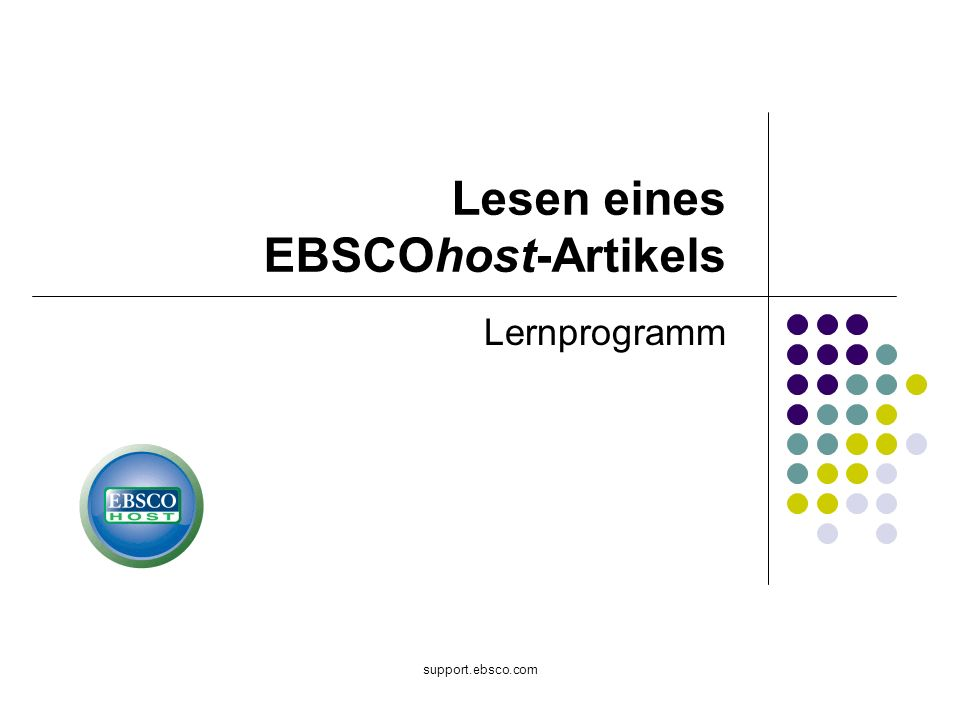 support.ebsco.com Lernprogramm Lesen eines EBSCOhost-Artikels