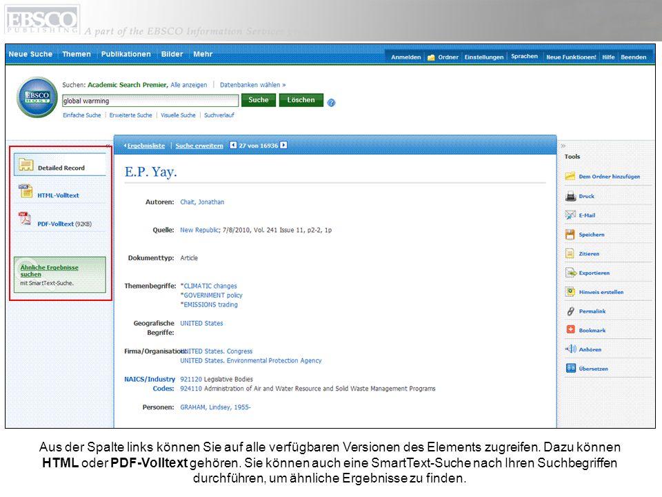 Aus der Spalte links können Sie auf alle verfügbaren Versionen des Elements zugreifen. Dazu können HTML oder PDF-Volltext gehören. Sie können auch ein