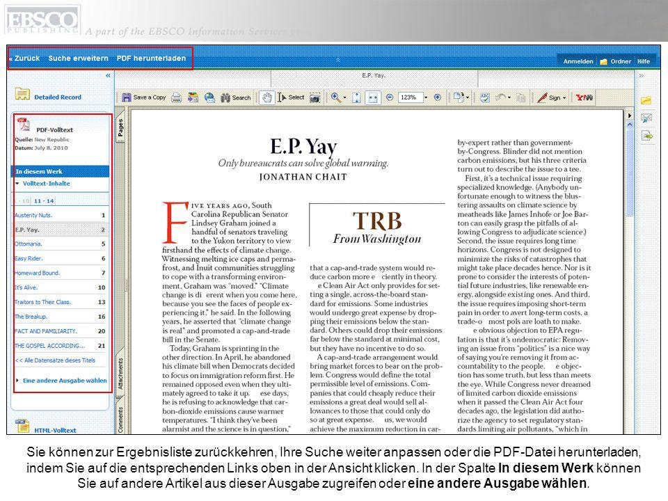 Sie können zur Ergebnisliste zurückkehren, Ihre Suche weiter anpassen oder die PDF-Datei herunterladen, indem Sie auf die entsprechenden Links oben in der Ansicht klicken.