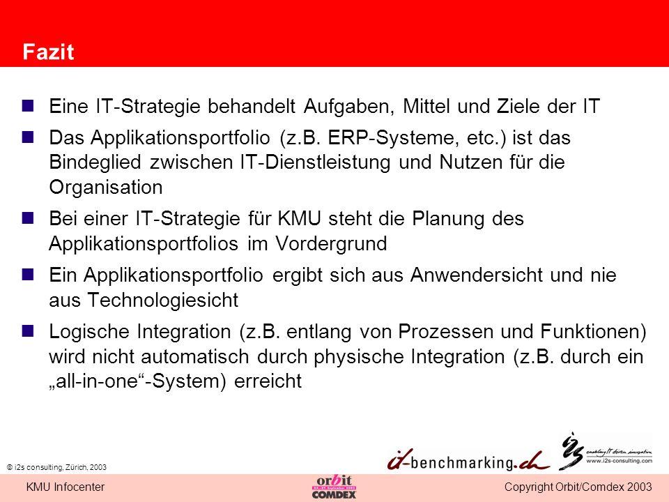 Copyright Orbit/Comdex 2003KMU Infocenter © i2s consulting, Zürich, 2003 Fazit Eine IT-Strategie behandelt Aufgaben, Mittel und Ziele der IT Das Appli