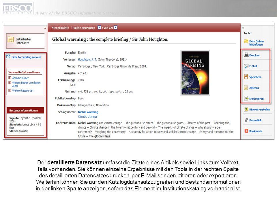 Der detaillierte Datensatz umfasst die Zitate eines Artikels sowie Links zum Volltext, falls vorhanden.