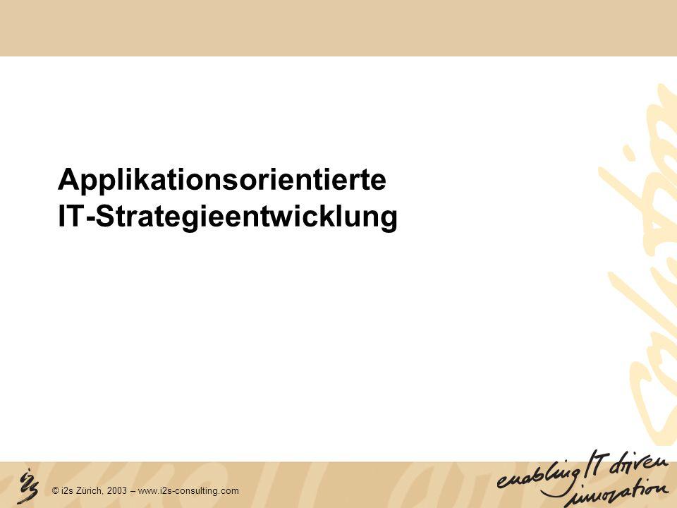 © i2s Zürich, 2003 – www.i2s-consulting.com Risk Analyse Einfluss auf Umsetzbarkeit (Projekterfolg) Ausmass der Veränderung (gegenüber IST-Zustand) Beschleunigung Auftragsabwicklung Standardisierung Planungsprozesse CRM/VIS Stammdatenmanagement Rückmeldewesen (BDE/MDE) Distributionssysteme Focus Risk