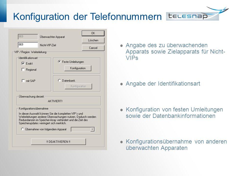 Konfiguration der Telefonnummern Angabe des zu überwachenden Apparats sowie Zielapparats für Nicht- VIPs Angabe der Identifikationsart Konfiguration von festen Umleitungen sowie der Datenbankinformationen Konfigurationsübernahme von anderen überwachten Apparaten