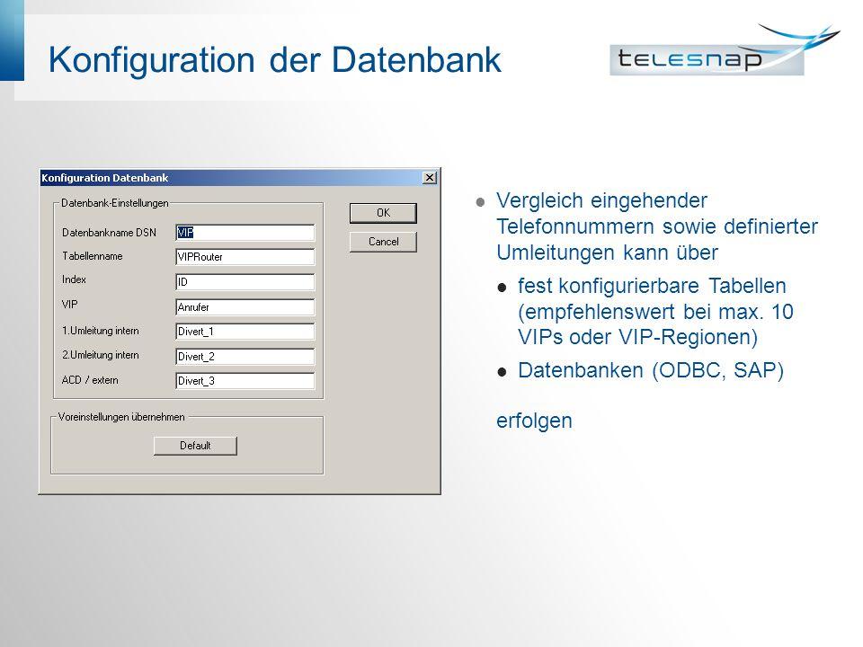 Konfiguration der Datenbank Vergleich eingehender Telefonnummern sowie definierter Umleitungen kann über fest konfigurierbare Tabellen (empfehlenswert bei max.