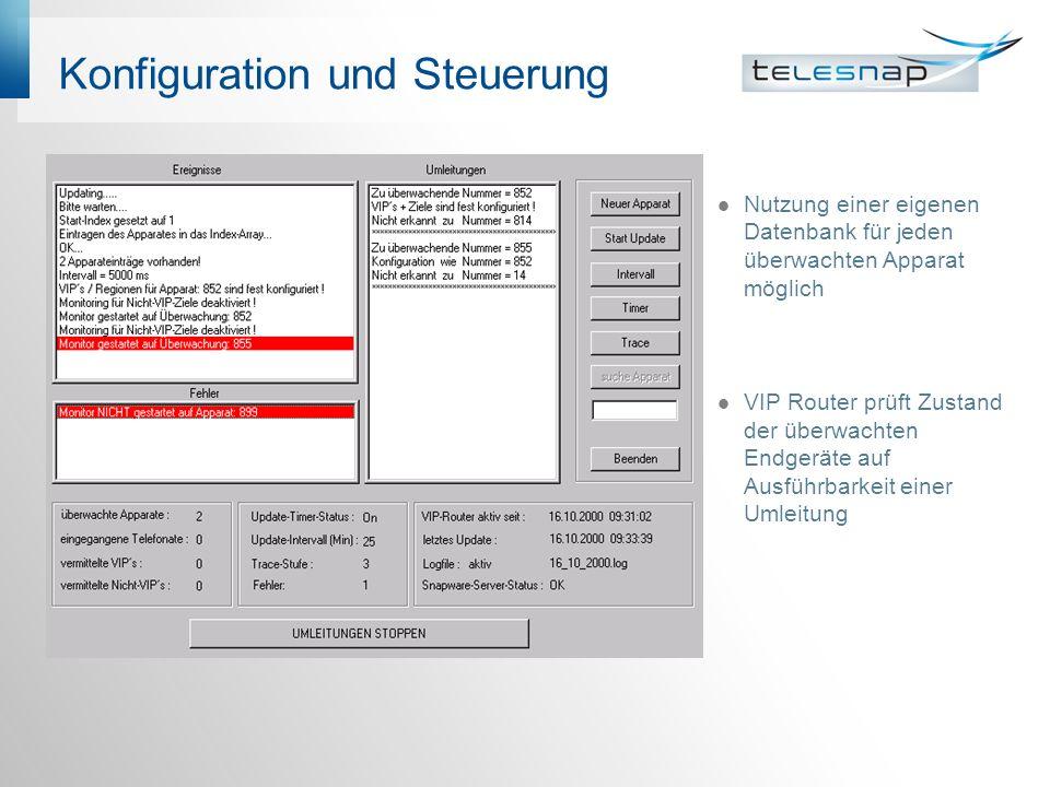 Konfiguration und Steuerung Nutzung einer eigenen Datenbank für jeden überwachten Apparat möglich VIP Router prüft Zustand der überwachten Endgeräte auf Ausführbarkeit einer Umleitung