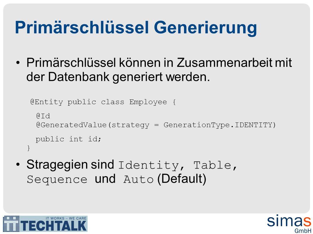 public class Employee { @TableGenerator(name = Emp_Gen , table = ID_GEN , pkColumnName = GEN_NAME , valueColumnName = GEN_VAL ) @Id @GeneratedValue(strategy = GenerationType.TABLE, generator = Emp_Gen ) private int id;...