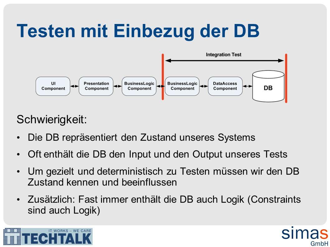 Testen mit Einbezug der DB Schwierigkeit: Die DB repräsentiert den Zustand unseres Systems Oft enthält die DB den Input und den Output unseres Tests U