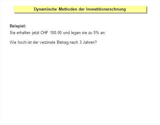 Dynamische Methoden der Investitionsrechnung Beispiel: Sie erhalten jetzt CHF 100.00 und legen sie zu 5% an: Wie hoch ist der verzinste Betrag nach 3 Jahren?