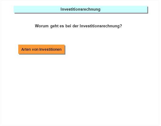 Investitionsrechnung Worum geht es bei der Investitionsrechnung? Arten von Investitionen
