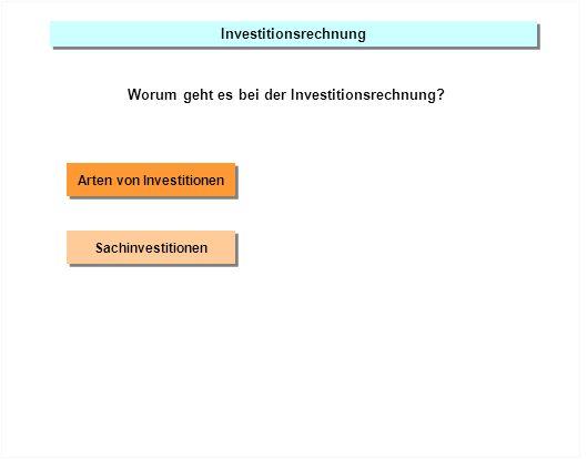 Investitionsrechnung Worum geht es bei der Investitionsrechnung? Arten von Investitionen Sachinvestitionen