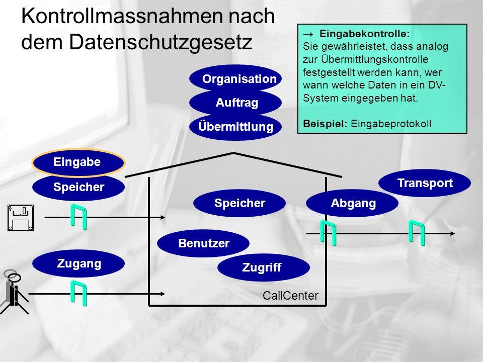 Kontrollmassnahmen nach dem Datenschutzgesetz CallCenter Eingabekontrolle: Sie gewährleistet, dass analog zur Übermittlungskontrolle festgestellt werd