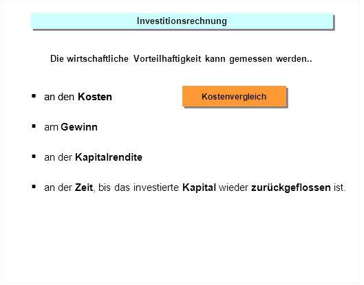 Investitionsrechnung Die wirtschaftliche Vorteilhaftigkeit kann gemessen werden.. an den Kosten Kostenvergleich an den Kosten am Gewinn an der Kapital