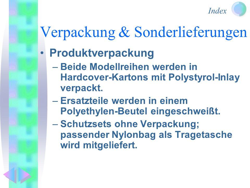 Index Verpackung & Sonderlieferungen Produktverpackung –Beide Modellreihen werden in Hardcover-Kartons mit Polystyrol-Inlay verpackt. –Ersatzteile wer
