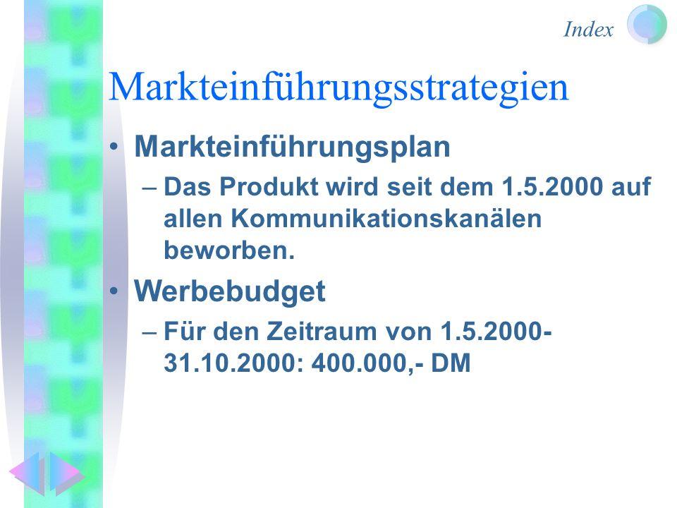Index Markteinführungsstrategien Markteinführungsplan –Das Produkt wird seit dem 1.5.2000 auf allen Kommunikationskanälen beworben. Werbebudget –Für d