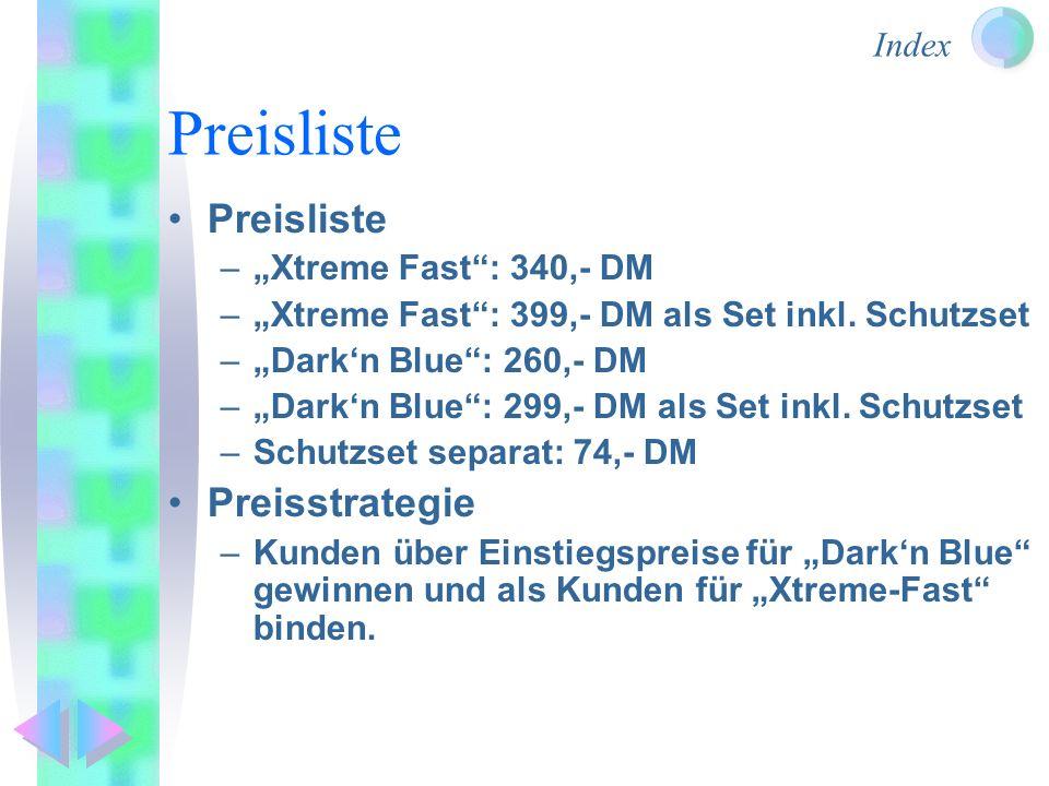 Index Preisliste –Xtreme Fast: 340,- DM –Xtreme Fast: 399,- DM als Set inkl. Schutzset –Darkn Blue: 260,- DM –Darkn Blue: 299,- DM als Set inkl. Schut