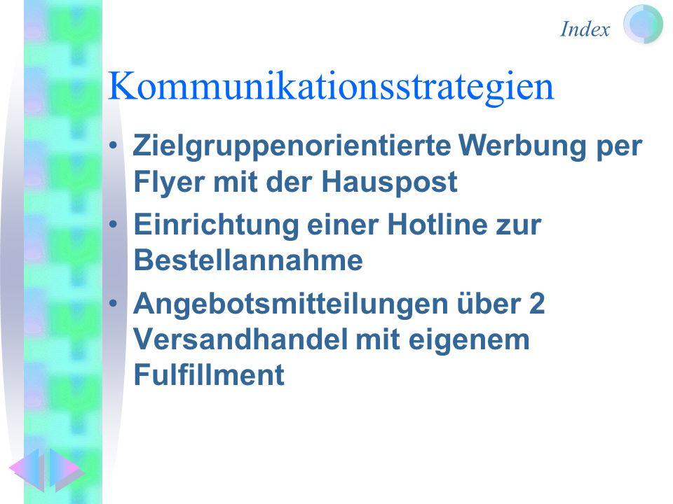 Index Kommunikationsstrategien Zielgruppenorientierte Werbung per Flyer mit der Hauspost Einrichtung einer Hotline zur Bestellannahme Angebotsmitteilungen über 2 Versandhandel mit eigenem Fulfillment