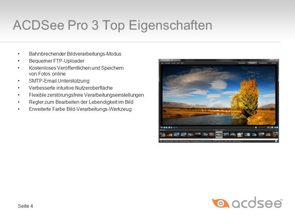 Neues Bearbeitungsmodell ACDSee Pro 3 bietet Leistungen, die weit über die anderer Anwendungen hinausgehen, indem es dynamische, zerstörungsfreie Verarbeitung sowie Bearbeitungen auf Pixelebene in einer Anwendung kombiniert.