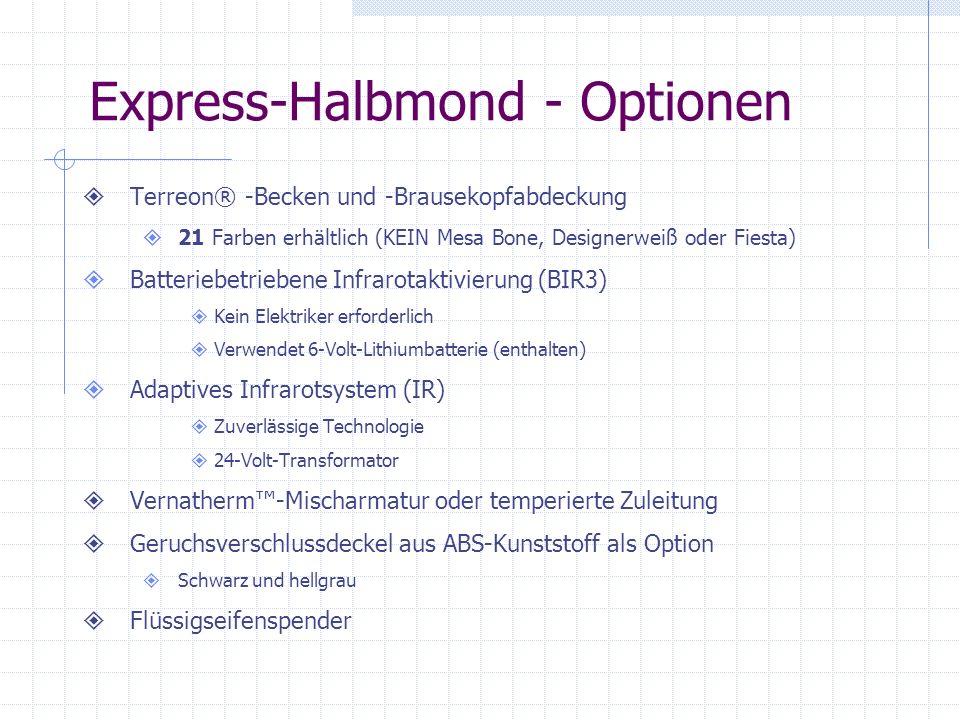 Express-Halbmond - Optionen Terreon® -Becken und -Brausekopfabdeckung 21 Farben erhältlich (KEIN Mesa Bone, Designerweiß oder Fiesta) Batteriebetriebe