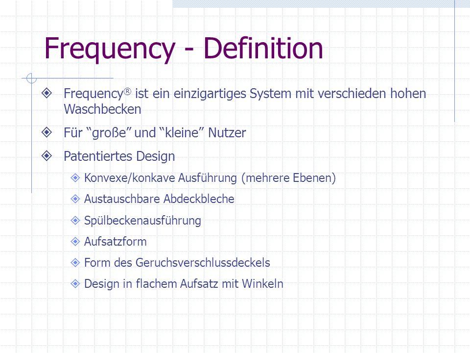 Frequency - Definition Frequency ® ist ein einzigartiges System mit verschieden hohen Waschbecken Für große und kleine Nutzer Patentiertes Design Konv