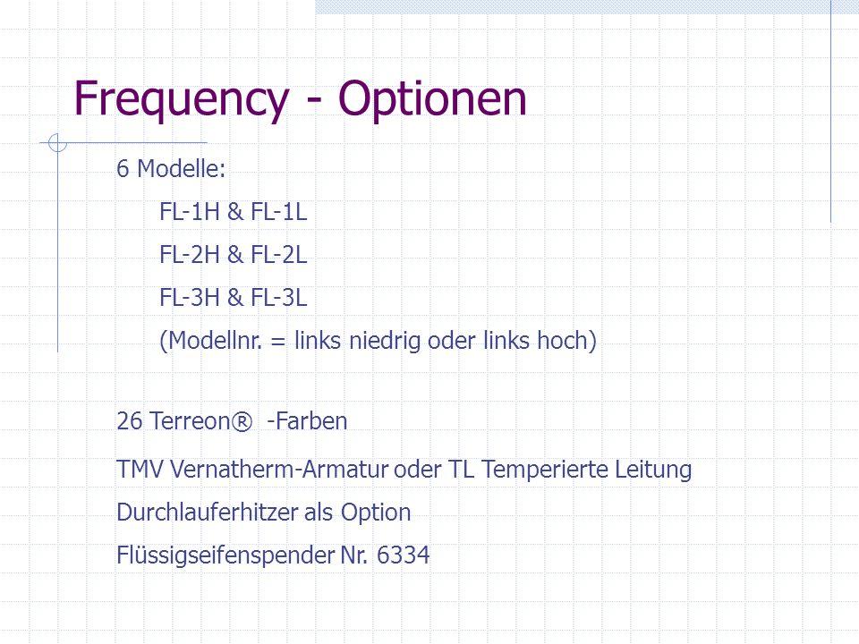 Frequency - Optionen 6 Modelle: FL-1H & FL-1L FL-2H & FL-2L FL-3H & FL-3L (Modellnr. = links niedrig oder links hoch) 26 Terreon® -Farben TMV Vernathe