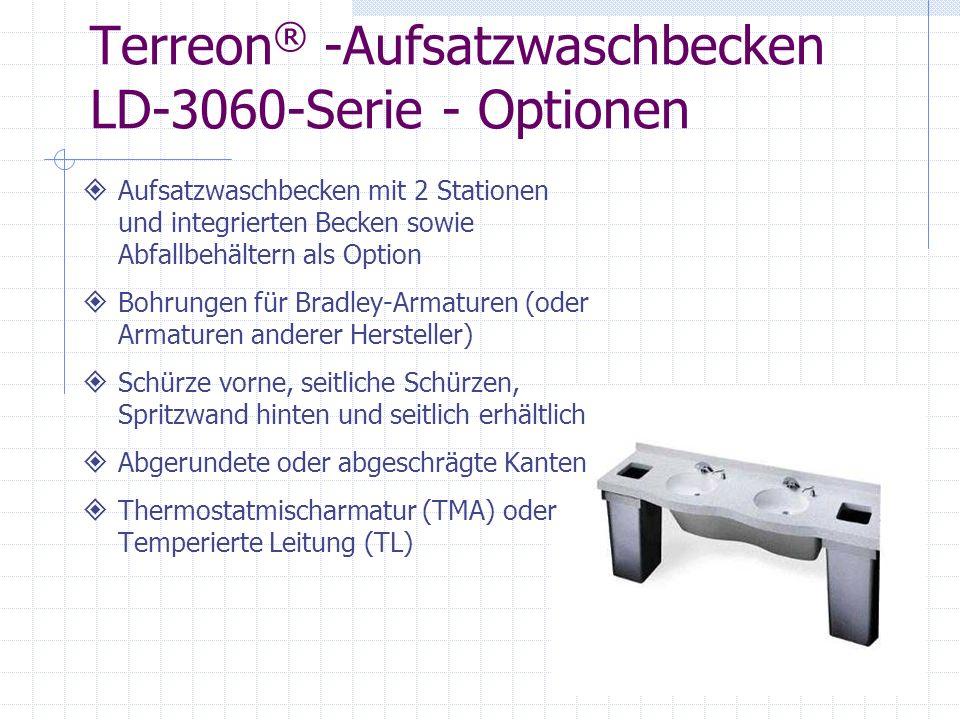 Terreon ® -Aufsatzwaschbecken LD-3060-Serie - Optionen Aufsatzwaschbecken mit 2 Stationen und integrierten Becken sowie Abfallbehältern als Option Boh