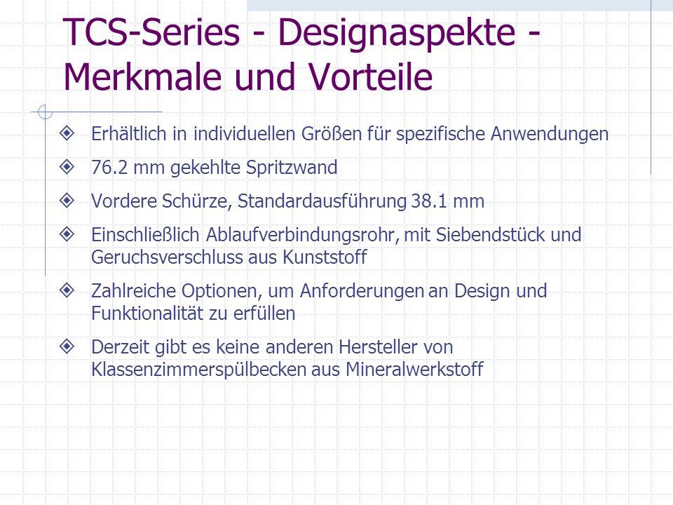 TCS-Series - Designaspekte - Merkmale und Vorteile Erhältlich in individuellen Größen für spezifische Anwendungen 76.2 mm gekehlte Spritzwand Vordere