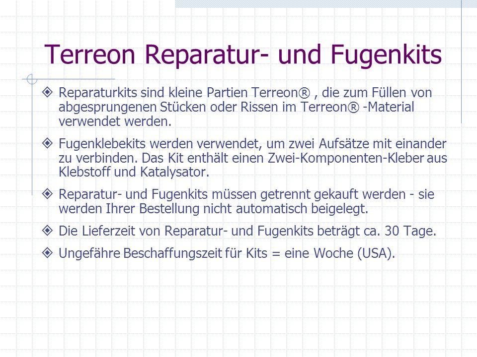 Terreon Reparatur- und Fugenkits Reparaturkits sind kleine Partien Terreon®, die zum Füllen von abgesprungenen Stücken oder Rissen im Terreon® -Material verwendet werden.