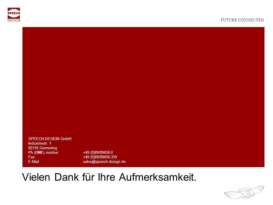 Vielen Dank für Ihre Aufmerksamkeit.SPEECH DESIGN GmbH Industriestr.