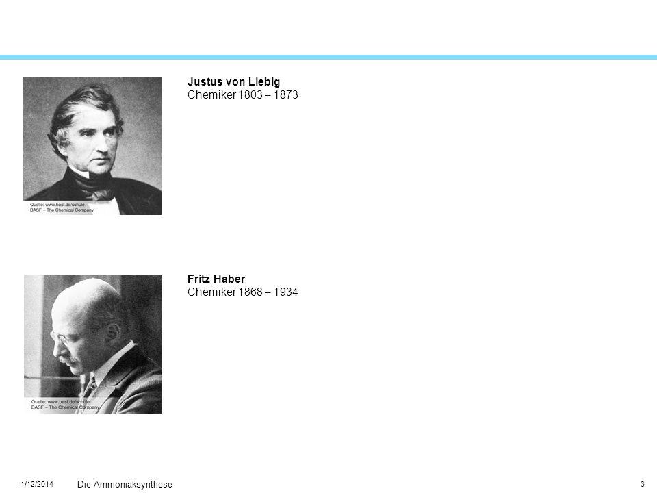 1/12/2014 Die Ammoniaksynthese 3 Justus von Liebig Chemiker 1803 – 1873 Fritz Haber Chemiker 1868 – 1934
