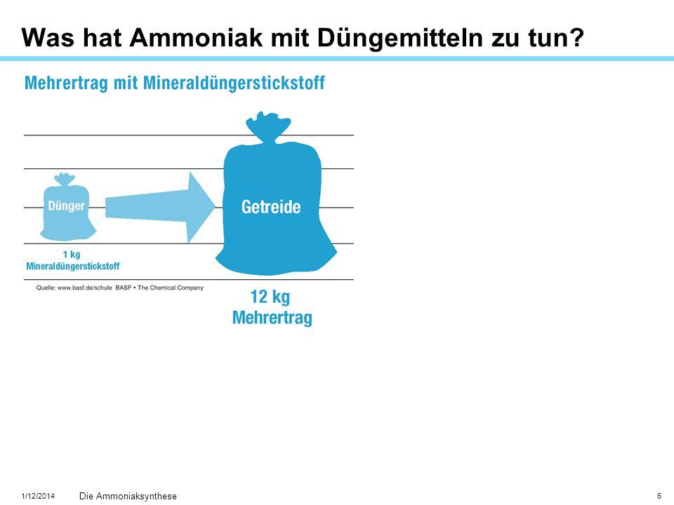 1/12/2014 Die Ammoniaksynthese 6 Was hat Ammoniak mit Düngemitteln zu tun?