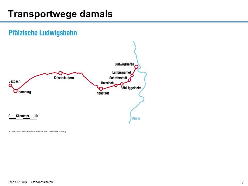 17 Transportwege damals Stand 12.2010 Standortfaktoren
