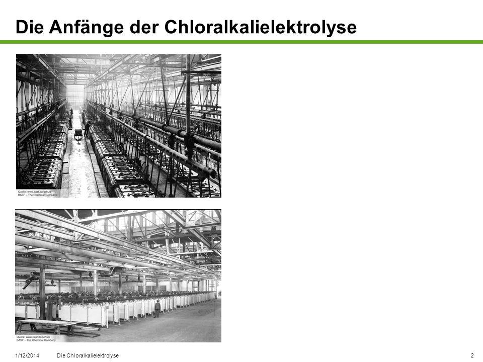 1/12/2014 Die Chloralkalielektrolyse 2 Die Anfänge der Chloralkalielektrolyse