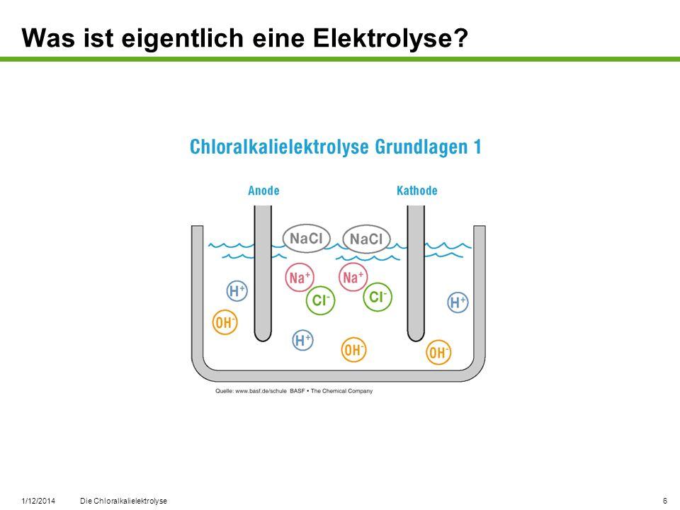 1/12/2014 Die Chloralkalielektrolyse 6 Was ist eigentlich eine Elektrolyse?