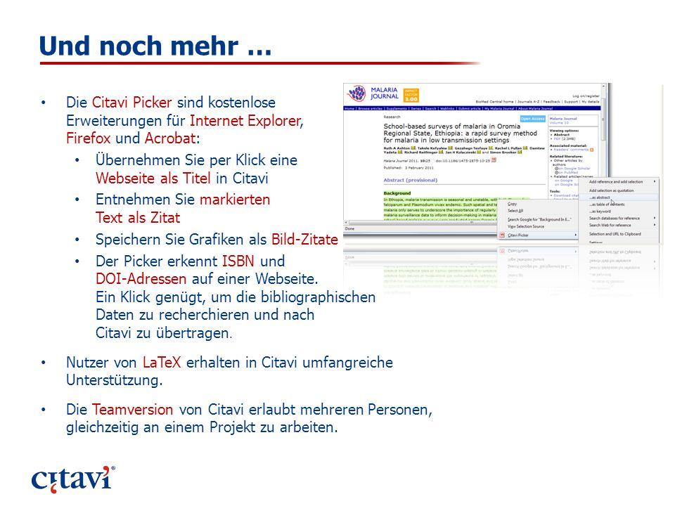 Und noch mehr … Die Citavi Picker sind kostenlose Erweiterungen für Internet Explorer, Firefox und Acrobat: Übernehmen Sie per Klick eine Webseite als