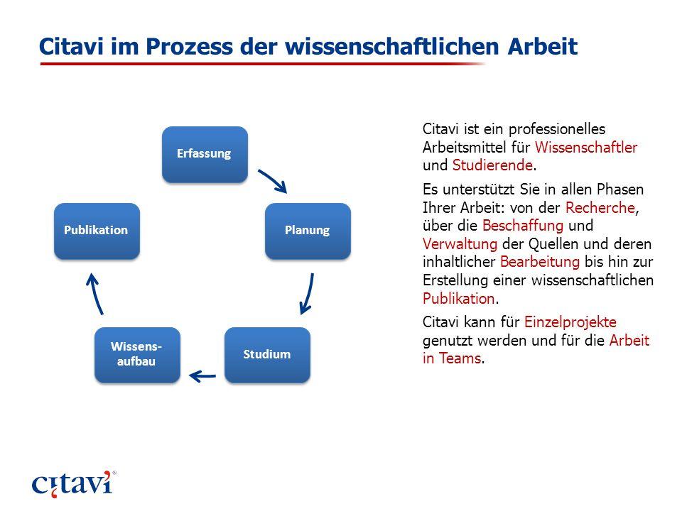 Citavi im Prozess der wissenschaftlichen Arbeit ErfassungPlanungStudium Wissens- aufbau Publikation Citavi ist ein professionelles Arbeitsmittel für W