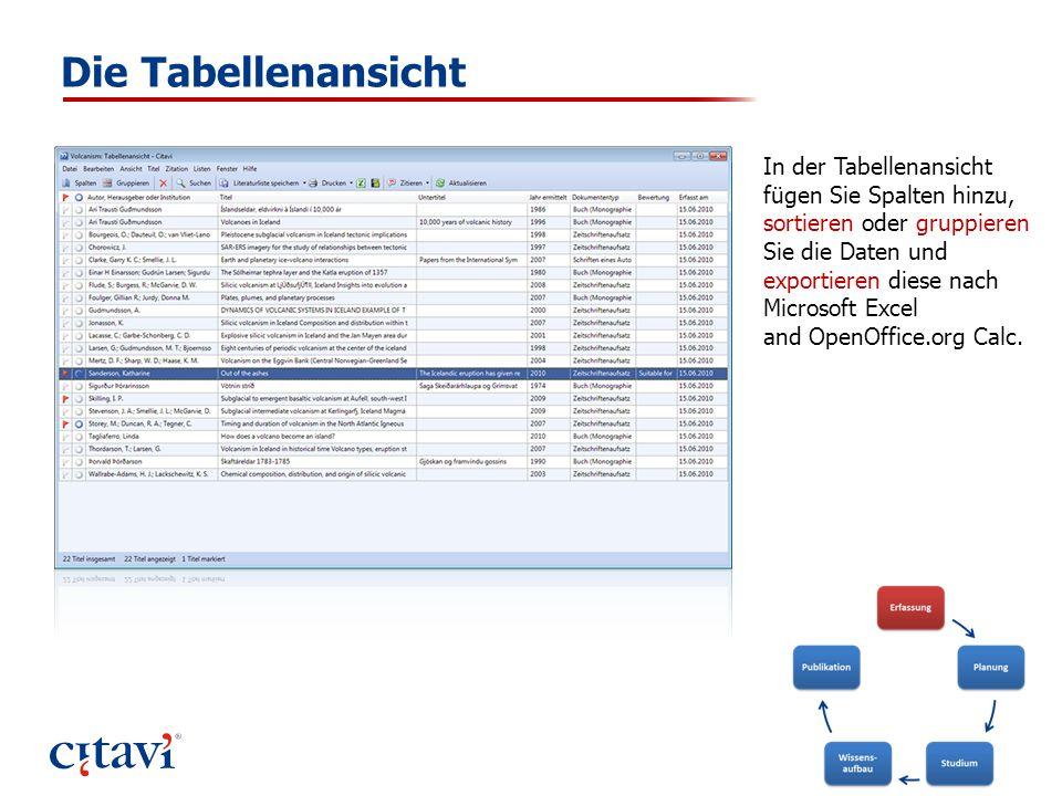 Die Tabellenansicht In der Tabellenansicht fügen Sie Spalten hinzu, sortieren oder gruppieren Sie die Daten und exportieren diese nach Microsoft Excel
