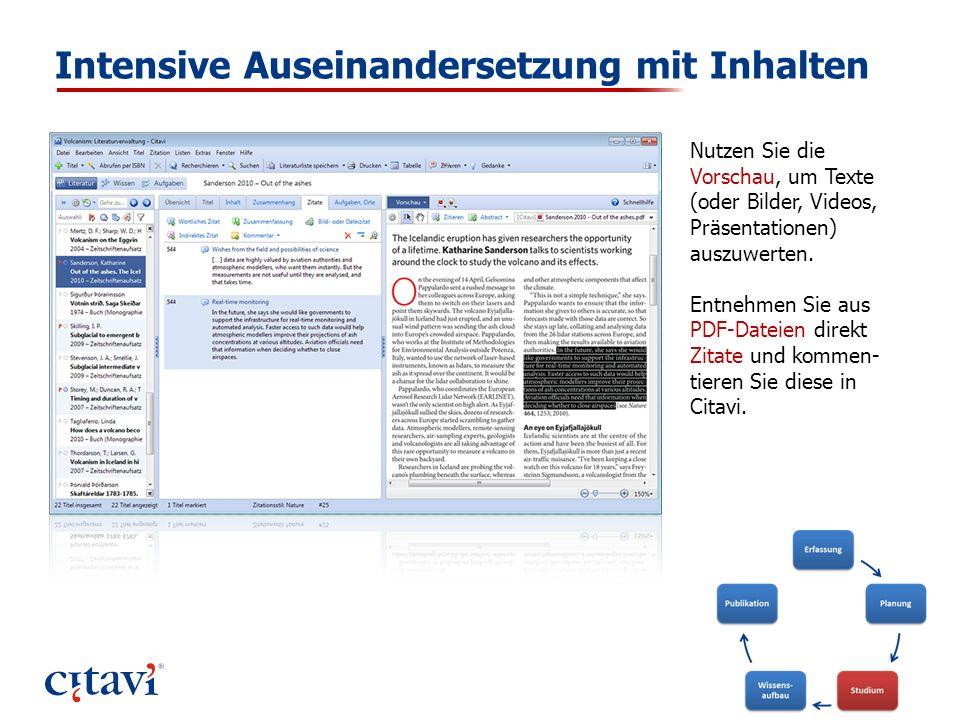 Intensive Auseinandersetzung mit Inhalten Nutzen Sie die Vorschau, um Texte (oder Bilder, Videos, Präsentationen) auszuwerten. Entnehmen Sie aus PDF-D