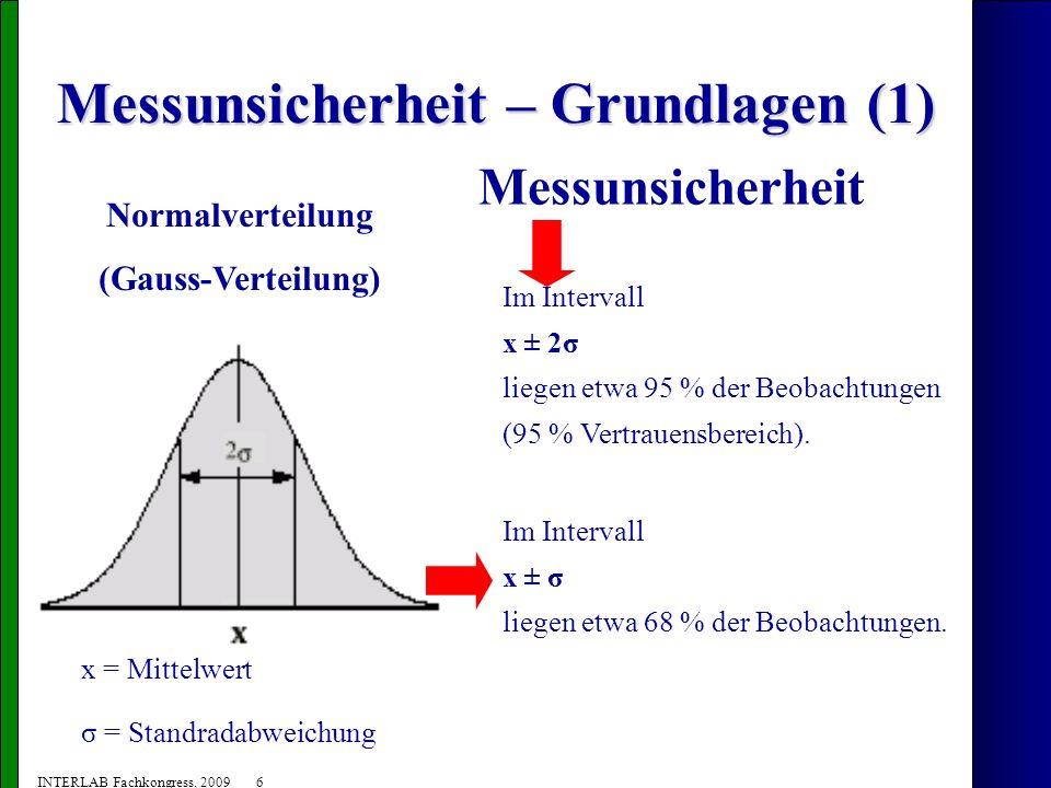 7 INTERLAB Fachkongress, 2009 Messunsicherheit – Definition Die Messunsicherheit beschreibt das 95 % Vertrauensintervall eines Messwertes bei Anwendung einer bestimmten Methode.