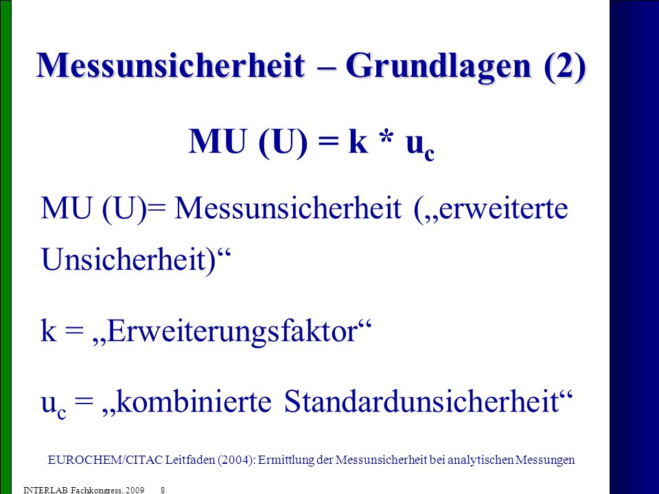 19 INTERLAB Fachkongress, 2009 Festlegung der Messunsicherheit an der BAM Rotholz Nicht auf Methode bezogen, sondern auf die mikrobiologische Plattentechnik: u c = ± 0,25 log KbE/g MU = ± 0,5 log KbE/g (0,5 log entsprechen dem Faktor 3,2 in normaler Skala)