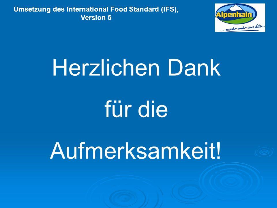 Umsetzung des International Food Standard (IFS), Version 5 Herzlichen Dank für die Aufmerksamkeit!