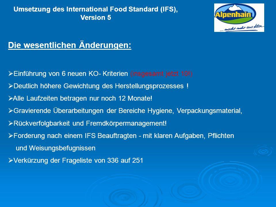 Umsetzung des International Food Standard (IFS), Version 5 Die wesentlichen Änderungen: Einführung von 6 neuen KO- Kriterien (insgesamt jetzt 10!) Deu