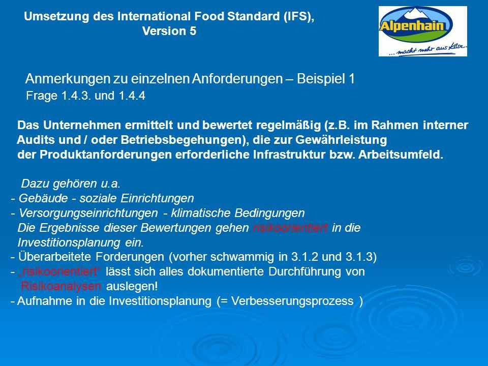 Umsetzung des International Food Standard (IFS), Version 5 Anmerkungen zu einzelnen Anforderungen – Beispiel 1 Frage 1.4.3. und 1.4.4 Das Unternehmen