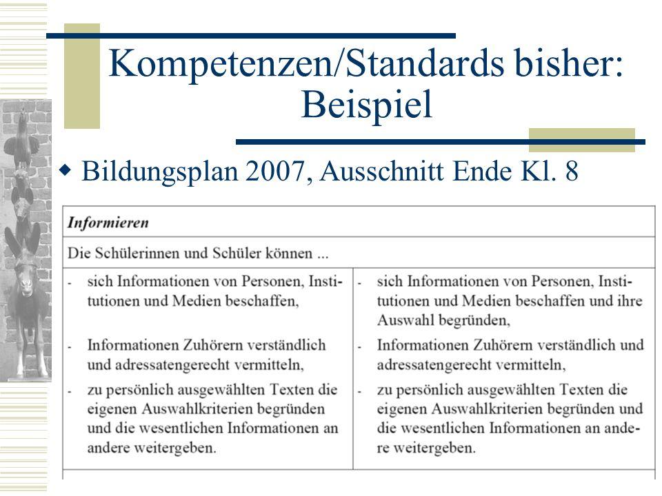 Kompetenzen/Standards bisher: Beispiel Bildungsplan 2007, Ausschnitt Ende Kl. 8