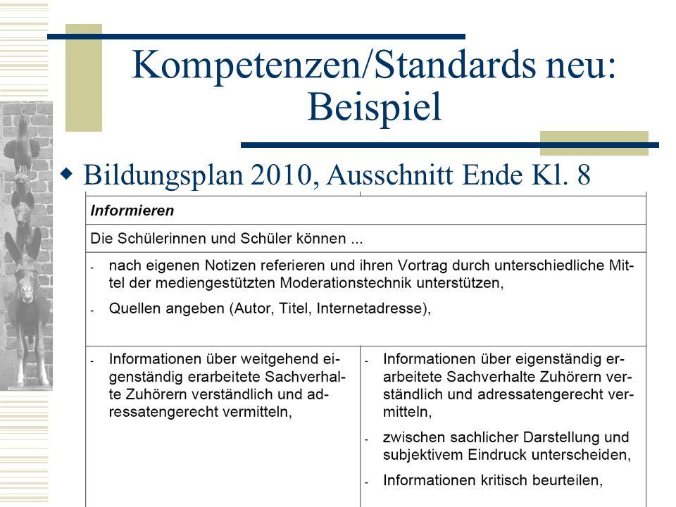 Kompetenzen/Standards neu: Beispiel Bildungsplan 2010, Ausschnitt Ende Kl. 8