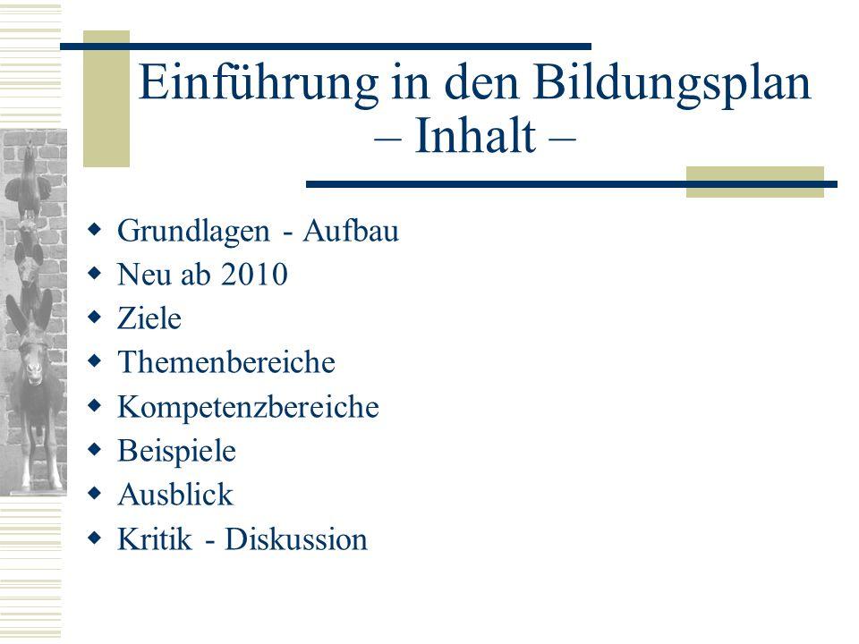 Einführung in den Bildungsplan – Inhalt – Grundlagen - Aufbau Neu ab 2010 Ziele Themenbereiche Kompetenzbereiche Beispiele Ausblick Kritik - Diskussio