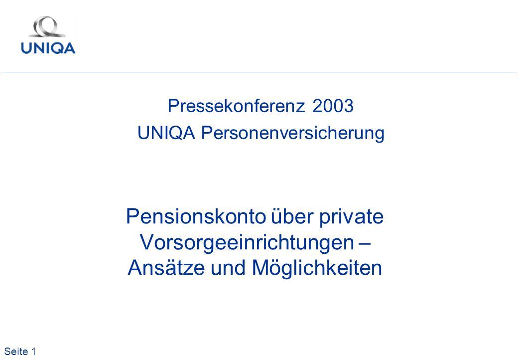 Seite 1 Pensionskonto über private Vorsorgeeinrichtungen – Ansätze und Möglichkeiten Pressekonferenz 2003 UNIQA Personenversicherung