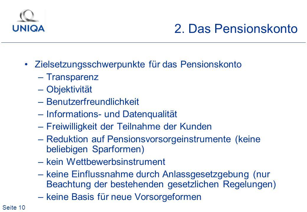 Seite 10 2. Das Pensionskonto Zielsetzungsschwerpunkte für das Pensionskonto –Transparenz –Objektivität –Benutzerfreundlichkeit –Informations- und Dat